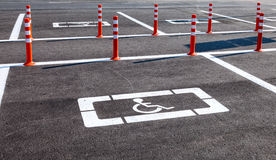 Parking space reserved for handicapped shoppers Royalty Free Stock Images