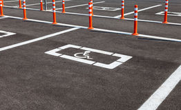 Parking space reserved for handicapped shoppers royalty free stock photos