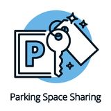 Parking space sharing for car owners share economy concept Royalty Free Stock Images