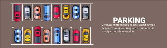 Parking Space Top View With Set Of Colorful Cars, Park Zone Horizontal Banner With Copy Space. Flat Vector Illustration vector illustration