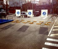 Parking. Spaces reserved for special cases in the neighborhood of Olivos, Buenos Aires Royalty Free Stock Photos