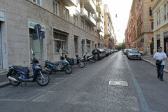 Parking spaces on the street of Rome Royalty Free Stock Photo