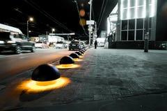 Parking spherical blocker with illumination. Night Snapshot - showing how the parking blocker glow stock photography