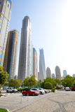The parking with sports cars and view on skyscrapers Royalty Free Stock Image