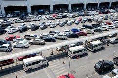 Parking spot for car of people passenger of BTS skytrain park Stock Photos