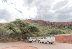 Parking at start of trail to top of Waterberg Plateau Stock Photo