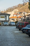 Parking on the stone pavement of Melnik in Bulgaria Stock Image