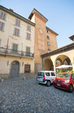 The Parking. The stone pavement parking at Upper Bergamo Stock Photo