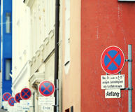 Parking stopping restriction Stock Images