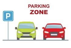 Parking strefa z dwa samochodami na białym tle Zdjęcie Royalty Free
