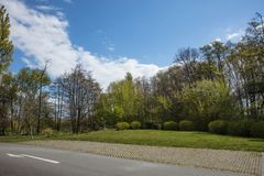Parking strip as parking next to meadow and road. With trees and sky Royalty Free Stock Images