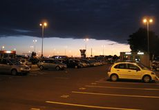 Parking at sunrise. Airport parking shot at sunrise Stock Images