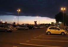 Parking at sunrise. Airport parking shot at sunrise stock images