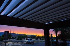 Parking at sunset Royalty Free Stock Photography