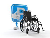 Parking symbol character with wheelchair. Isolated on white background. 3d illustration Stock Images