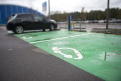 Parking symbol for electric cars being charged.  stock images