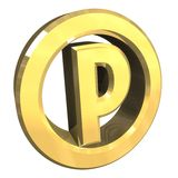 Parking Symbol In Gold (3d) Stock Photo