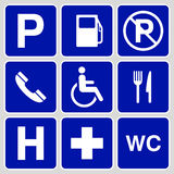 Parking symbols and signs collection Stock Photo