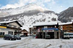 Parking in Taesch near Zermatt in Wallis Switzerland Stock Image