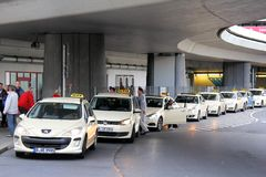 Parking of the taxi cars. BERLIN, GERMANY - SEPTEMBER 9, 2013: Parking of the taxi cars at the Berlin Tegel international airport Stock Photos