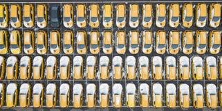 Parking taxi samochody widok z lotu ptaka fotografia royalty free