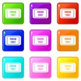 Parking ticket icons 9 set Royalty Free Stock Images