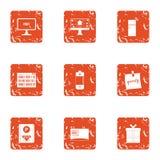 Parking ticket icons set, grunge style. Parking ticket icons set. Grunge set of 9 parking ticket vector icons for web isolated on white background Royalty Free Stock Photo