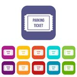 Parking ticket icons set. Vector illustration in flat style In colors red, blue, green and other Royalty Free Stock Photography