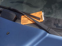 Parking ticket. On motor car windscreen or windshield Royalty Free Stock Photography