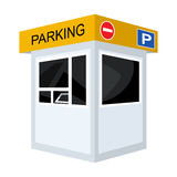Parking toll booth icon in cartoon style isolated on white background. Parking zone symbol stock vector illustration. Stock Photography
