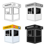 Parking toll booth icon in cartoon style isolated on white background. Parking zone symbol stock vector illustration. Royalty Free Stock Image