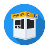 Parking toll booth icon in flat style isolated on white background. Parking zone symbol stock vector illustration. Stock Image