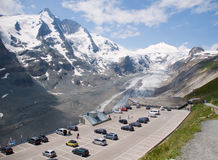 Parking on top Glacier Pasterze. Austrian Alps Stock Images