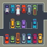Parking top view. Many cars on parking zone, different vehicles in parked lot from above. Auto vector infographic royalty free illustration