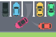 Parking top view. Cars choosing the place stock illustration