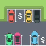 Parking top view. Cars and disabled spaces Royalty Free Stock Images