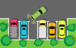 Parking Top View Vector Web Banner in Flat Design Stock Photography
