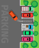 Parking Top View Vector Web Banner in Flat Design Stock Photo