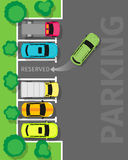 Parking Top View Vector Web Banner in Flat Design Royalty Free Stock Photography