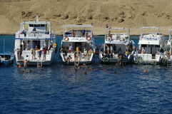 Parking of tourist ships on Red sea, Hurghada Stock Image