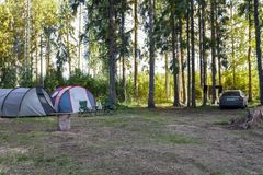 Parking tourists in the forest. Two tents and a car royalty free stock image