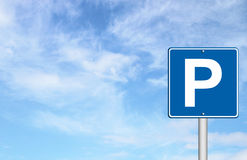 Parking traffic sign with blue sky Royalty Free Stock Image