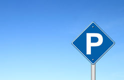 Parking traffic sign with blue sky Royalty Free Stock Photo
