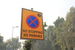 Parking traffic signage New Delhi India. No Parking No stopping traffic signage in New Delhi India Stock Image