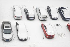 Parking under snow Royalty Free Stock Images
