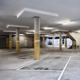 Parking vide avec les pylônes jaunes Image libre de droits