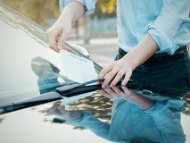 Parking violation ticket fine on windshield Stock Photography