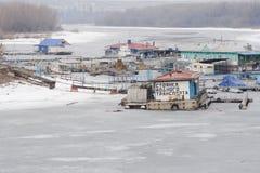 Parking on water transport backwater of the river Volga, Volgograd Krasnoarmeisky Stock Photo