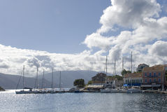 Parking of yachts in the city of Fiskardo Stock Image