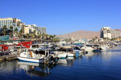 Parking yachts in Eilat, Israel Royalty Free Stock Images
